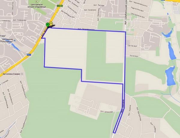 Схема маршрута 14 августа